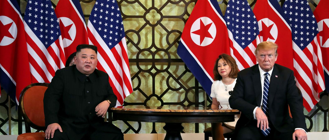 Leah Millis / REUTERS North Korean leader Kim Jong Un and U.S. President Donald Trump listen to questions from the media during their one-on-one bilateral meeting at the second North Korean-U.S. summit in the Metropole hotel in Hanoi, Vietnam, February 2019.