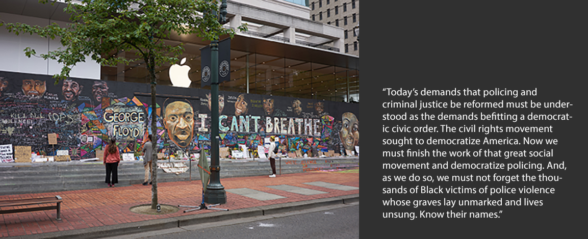 George Floyd Mural along with quote from Melissa Nobles