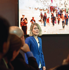 Many MIT faculty members, such as Jessika Trancik (pictured above presenting her research on energy technologies in Davos, Switzerland), look to the MIT International Policy Lab for assistance in translating their findings into the language of policy. Photo: World Economic Forum, 2017