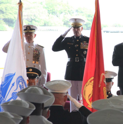 U.S. Pacific Command head Admiral Harry Harris (L); General Joe Dunford, Chairman of the Joint Chiefs of Staff (2nd L); Defense Secretary Jim Mattis and Admiral John Richardson (R) attend a change of command ceremony in Pearl Harbor, Hawaii, May 30, 2018