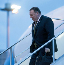 """U.S. Secretary of State Mike Pompeo left North Korea after two days of """"productive"""" talks, while Pyongyang decried U.S. """"gangster-like"""" tactics, on July 7, 2018. (Andrew Harnik/AFP/Getty Images)"""