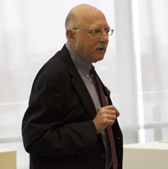 """Barry Posen, a Ford International Professor of Political Science and director of the MIT Security Studies Program at the Center for International Studies, provided a foreign policy briefing on US grand strategy to consuls generals and journalists in April, 2018. He is the author of """"The Case for Restraint: A New Foundation for U.S. Grand Strategy.""""  Photo courtesy Laura Kerwin/MIT Center for International Studies"""