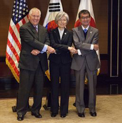 US Secretary of State Rex Tillerson meets with Republic of Korea Foreign Minister Kang Kyung-wha, and Japanese Foreign Minister Taro Kono