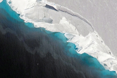 The Thwaites glacier, above, helps to keep the much larger West Antarctic Ice Shelf stable.Credit...NASA/OIB/Jeremy Harbeck