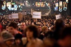 Thousands protest in Belgrade on December 22, 2018. (Andrej Isakovic/AFP/Getty Images)