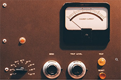 Image of retro panel of nuclear current dials and readers