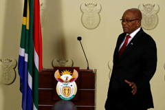 Jacob Zuma arrives to announce his resignation in Pretoria, February 2018.