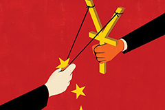Illustration of China flag background and puppeteer