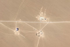 This undated satellite image obtained July 29 courtesy of Planet Labs shows what researchers say are missile silos under construction in the Chinese desert. (AFP/Getty Images)