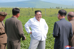 North Korean leader Kim Jong Un inspects Chunghung farm in Samjiyon County, North Korea in this undated photo released by North Korea's Korean Central News Agency (KCNA), July 2018.