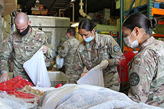 The California Army National Guard supported supporting humanitarian assistance to food banks during the COVID-19 crisis