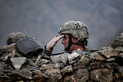 A US soldier in the Pesh valley, Afghanistan, August 2009