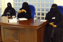 Saudi election officials sit at a polling station in the Saudi capital of Riyadh on Dec. 12, 2015. (Dina Fouad/AFP/Getty Images)