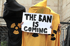 Photo of protester for the International Campaign to Abolish Nuclear Weapons