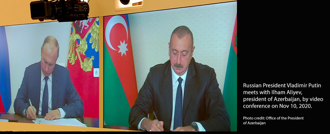 Vladimir Putin videoconference with Ilham Aliyev
