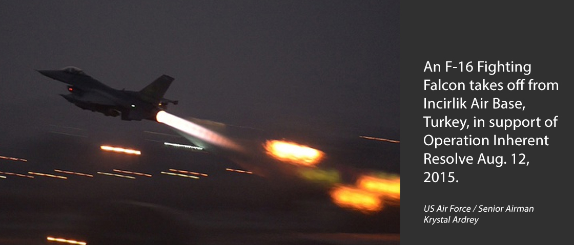An F-16 Fighting Falcon takes off from Incirlik Air Base, Turkey, in support of Operation Inherent Resolve Aug. 12, 2015.