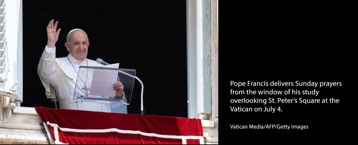 Pope Francis delivers Sunday prayers from the window of his study overlooking St. Peter's Square at the Vatican on July 4. (Vatican Media/AFP/Getty Images