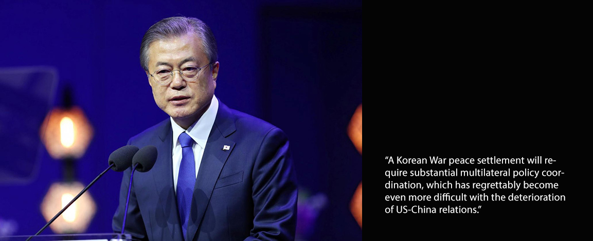 Head shot of current leader of South Korea with a quote from Kacie Muira
