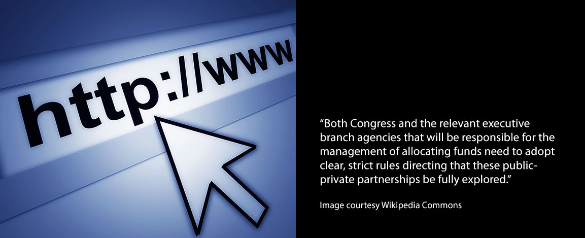 Quote from opinion piece and image of URL address to access the internet