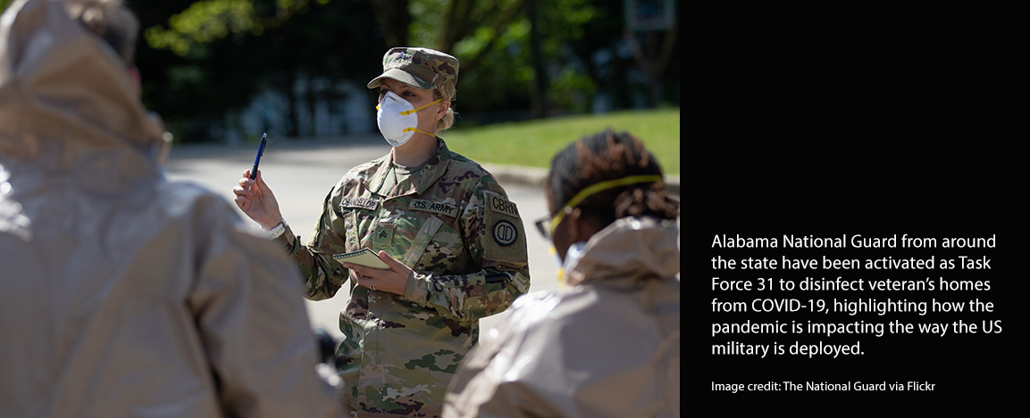 Female military leader wearing Covid-19 protective mask