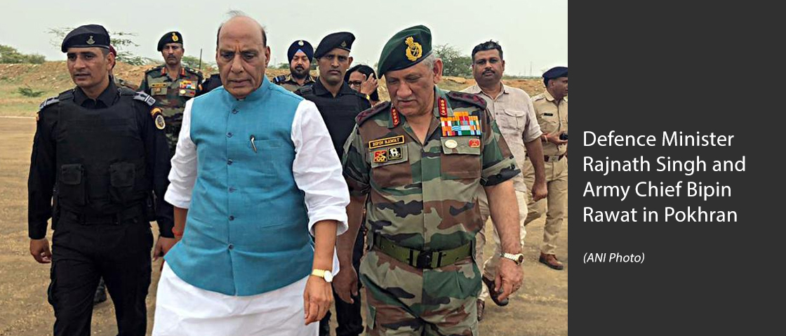 Defence Minister Rajnath Singh and Army Chief Bipin Rawat in Pokhran. (ANI Photo)