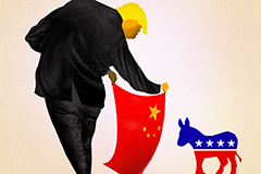 Cartoon of President Trump using red China flag to bullfight a donkey