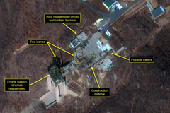 Commercial satellite imagery from March 2, 2019, shows renewed activity at Sohae, a space launch facility in North Korea. DigitalGlobe/38 North via Getty Images