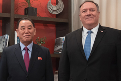 Kim Yong Chol, left, with Mike Pompeo in Washington, DC. on Jan. 18. Photographer: Saul Loeb/AFP/Getty Images