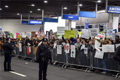 Protesters at airport