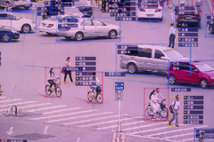 SenseVideo pedestrian and vehicle recognition system at the company's showroom in Beijing on June 15, 2018.Gilles Sabrie / Bloomberg via Getty Images file