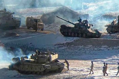 People Liberation Army soldiers and tanks during military disengagement. Picture: AFP