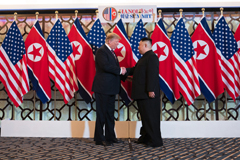 President Donald J. Trump is greeted by Kim Jong Un, Chairman of the State