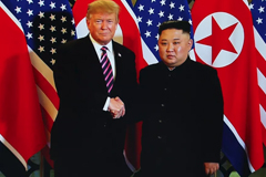 A handout photo of President Donald Trump and North Korean leader Kim Jong Un during their second summit on February 27, 2019, in Hanoi, Vietnam.  Vietnam News Agency/Handout/Getty Images