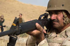 A peshmerga solider training near Erbil, Iraq