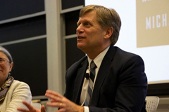 Michael McFaul, former U.S. Ambassador to Russia, discusses U.S.-Russia relations at MIT's Starr Forum, Thursday, March 14, 2019.  Image: Laura Kerwin/MIT Center for International Studies