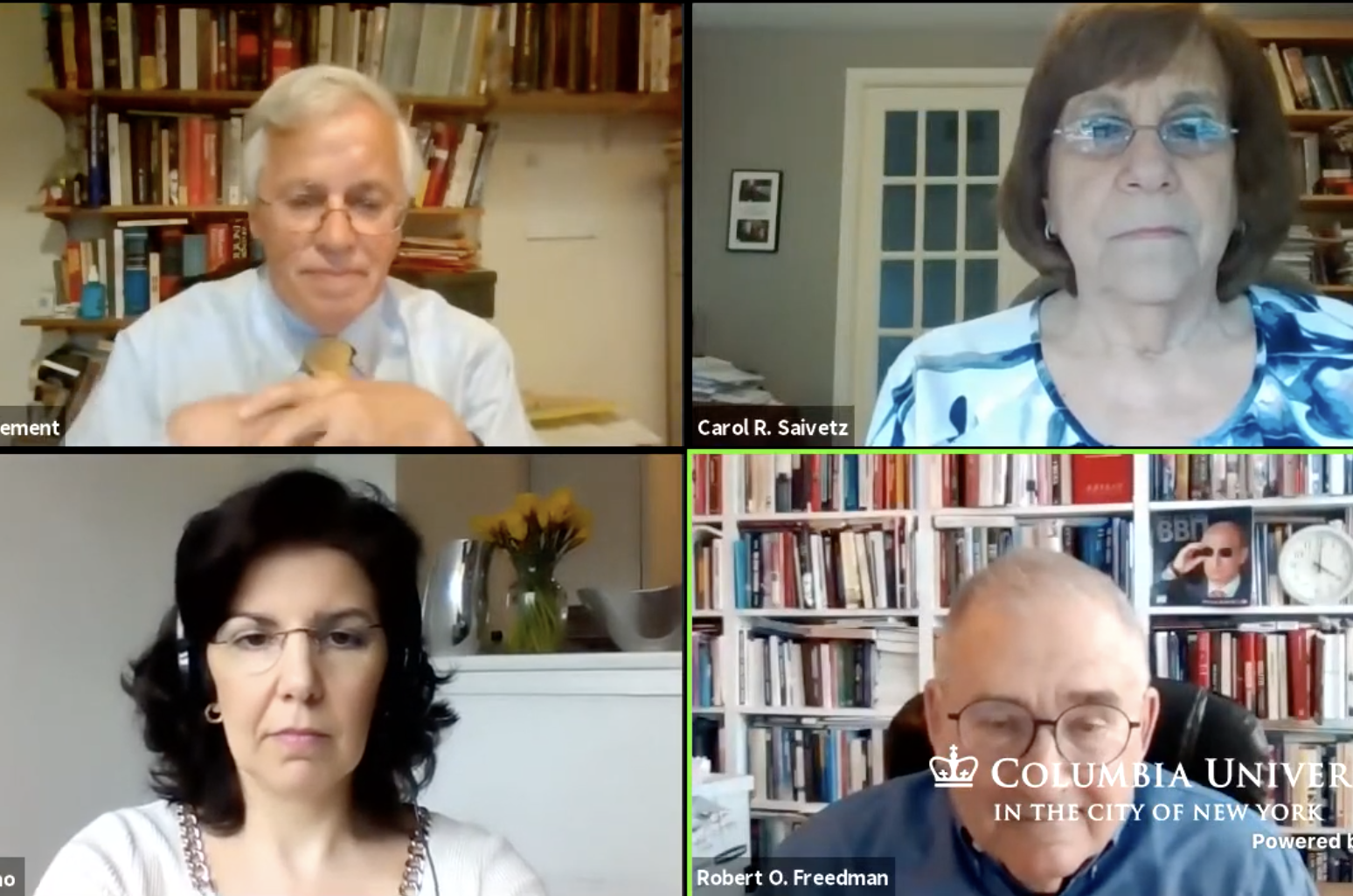 Screen shot of the virtual event featuring the four speakers
