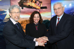 "Left to right: Joshua ""Shiki"" Shani, CEO of Lockheed Martin Israel; Deanna Rockefeller, Lockheed Martin Global Science and Technology Portfolio manager; and David Dolev, assistant director of MISTI and managing director of MISTI's programs in Israel.  Image: Sivan Farag"