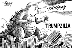 Political cartoon featuring Godzilla monster but with Trump head blowing flames of tariffs decimating a city with the caption Trumpzilla