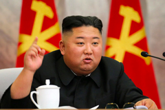 North Korean leader Kim Jong Un speaks during a meeting of the Seventh Central Military Commission of the Workers' Party of Korea in this photo provided Sunday by the North Korean government. (AP)