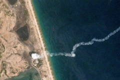 A commercial satellite image from May 4 shows what analysts at the Middlebury Institute of International Studies at Monterey in California think is the launch point and exhaust trail of a new short-range ballistic missile test in North Korea. (Reuters/Planet Labs)