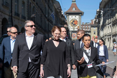 U.S. Secretary of State Mike Pompeo, front left, and his wife Suzan, front center, listen to a tourist guide during a sightseeing walk as part of Pompeo's visit in Bern, Switzerland, Saturday, June 1, 2019.(Peter Klaunzer/Keystone via AP) (Associated Press)