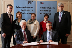 Celebrating a new MIT-Belgium partnership: (standing, l to r) Vincent Blondel, April Julich Perez, Molly Schneider, Cathy Culot, and Peter Lievens; (seated, l to r) Richard Lester and Luc Sels.