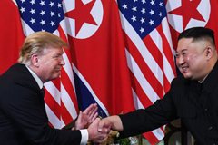 "US President Donald Trump and North Korean leader Kim Jong-un shake hands following a meeting in Hanoi, Vietnam, on February 27, 2019. Since then, North Korea has undertaken missile tests and Trump has voiced confidence that Kim will not ""break his promise"". Photo: AFPUS President Donald Trump and North Korean leader Kim Jong-un shake hands following a meeting in Hanoi, Vietnam, on February 27, 2019. Since then, North Korea has undertaken missile tests and Trump has voiced confidence that Kim will not ""brea"