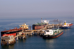 Tankers at the Iraqi Al Basra Oil Terminal in the Northern Arabian Gulf .