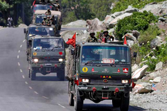 An Indian Army convoy moves along the highway leading to Ladakh, June 18, 2020. Photograph: Danish Ismail/Reuters