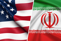 US-Iran flags