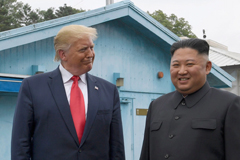 President Donald Trump meets with North Korean leader Kim Jong Un at the border village of Panmunjom in the Demilitarized Zone.