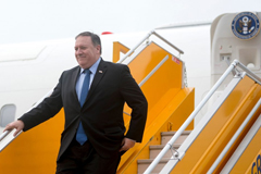 "Secretary of State Mike Pompeo arrives at Nom Bar International Airport in Hanoi on July 8, 2018. Pompeo shrugged off North Korean accusations of ""gangster-like"" behavior and said sanctions on Pyongyang would only be lifted with ""final"" denuclearization. (Andrew Harnik/AFP/Getty Images)"