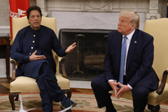 U.S. President Donald Trump and Pakistani Prime Minister Imran Khan speak to the media in the Oval Office at the White House in Washington on July 22. Mark Wilson/Getty Images