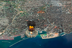The blast at the Port of Beirut from August 4 seen on a rendered satellite map. Authorities and aid workers are still searching for the dead and injured.Vampy1/Deposit Photos